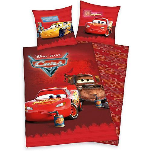 Wende-Kinderbettwäsche Cars, Renforce, 135 x 200 + 80 x 80 cm rot