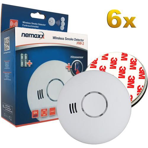 6x HW-2 Funkrauchmelder Rauchmelder Rauchwarnmelder Brandmelder Hitzemelder mit kombiniertem Rauch