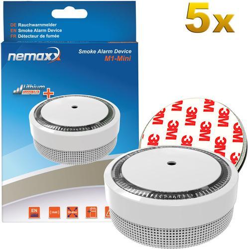 5x Nemaxx M1-Mini Rauchmelder weiß - fotoelektrischer Rauchwarnmelder nach neuestem VdS Standard