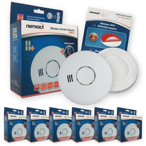 6x Nemaxx HW-2 Funkrauchmelder Rauchmelder Hitzemelder mit kombiniertem Rauch- und Thermosensor
