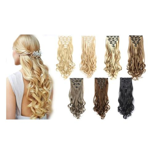 7er-Set Clip-in-Haarverlängerung: Grau