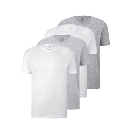 TOM TAILOR Herren Basic T-Shirt im Viererpack, weiß, Gr.XXL
