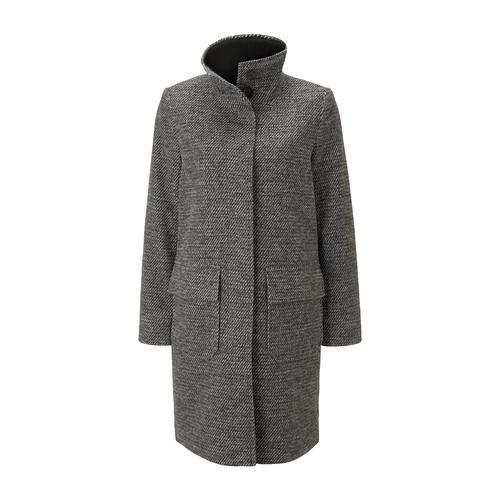 TOM TAILOR Damen Mantel aus Tweed mit Stehkragen, grau, Gr.XL