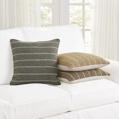 Pinstriped Flatweave Pillow Gray - Ballard Designs