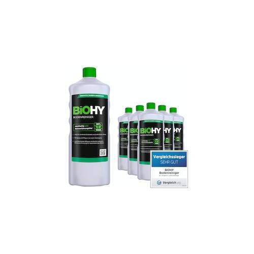 BiOHY Bodenreiniger (6x1l Flasche) | Konzentrat für alle Reinigungsgeräte und alle Hartböden | Angenehmer Geruch und streifenfreie Reinigung