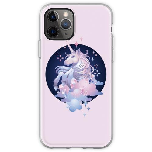 Pastellrosa und blaues magisches Kristalleinhorn Flexible Hülle für iPhone 11 Pro