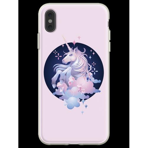Pastellrosa und blaues magisches Kristalleinhorn Flexible Hülle für iPhone XS Max