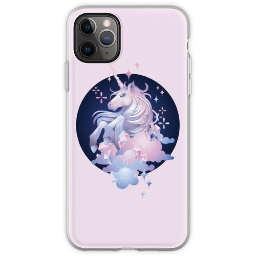 Pastellrosa und blaues magisches Kristalleinhorn Flexible Hülle für iPhone 11 Pro Max