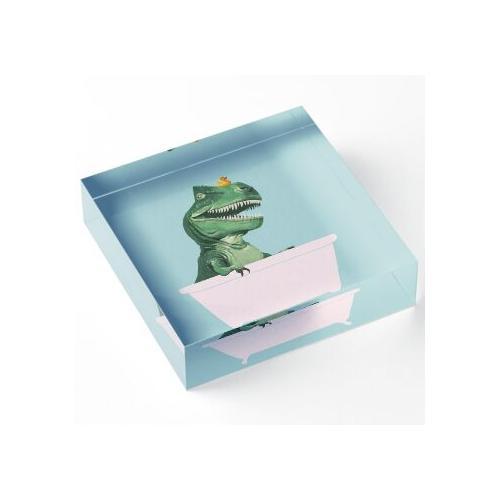 Verspielter T-Rex in Badewanne in Grün Acrylblock