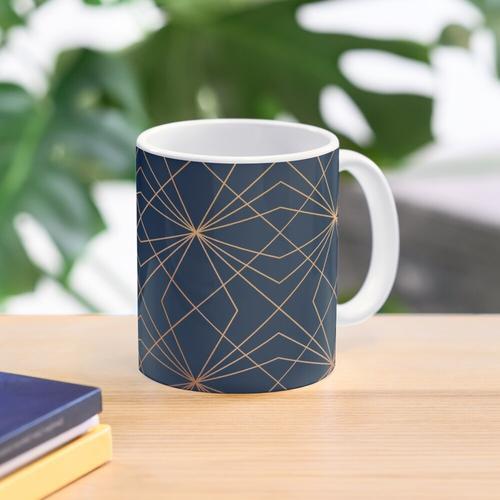 Navy & Copper Geo Lines Mug