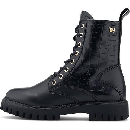 Tommy Hilfiger, Schnür-Boots Croco Look in schwarz, Boots für Damen Gr. 39