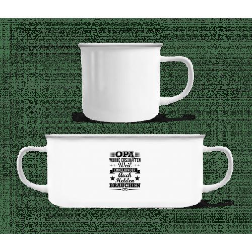 Enkelkinder Brauchen Helden - Emaille-Tasse