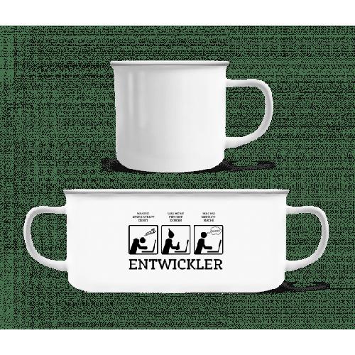 Entwickler Comic - Emaille-Tasse