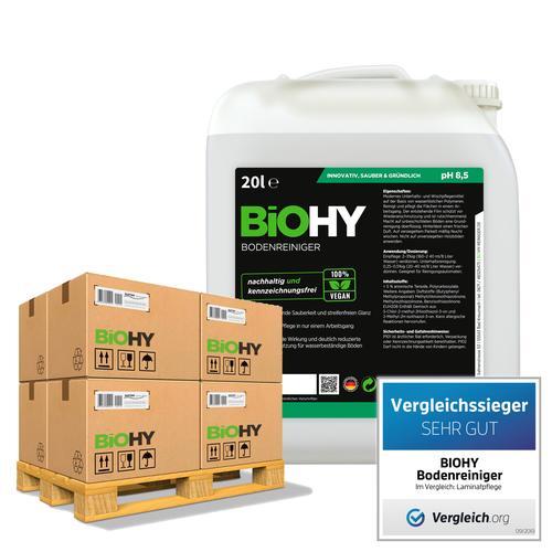 BiOHY Bodenreiniger (24x20l Kanister) | Konzentrat für alle Reinigungsgeräte und alle Hartböden | Angenehmer Geruch und streifenfreie Reinigung