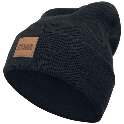 Urban Classics Leatherpatch Long Beanie Mütze - schwarz