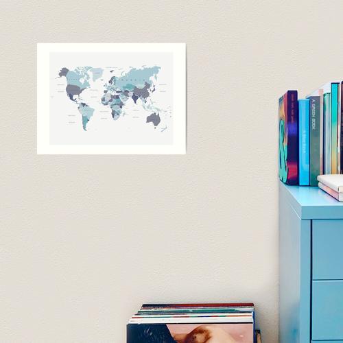 Weltkarte in Blau Kunstdruck