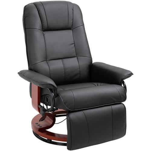 HOMCOM® Relax Fernsehsessel | Liegesessel | Veganleder | 78 x 87 x 100 cm | Schwarz - schwarz