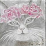 queence Leinwandbild Cat with Flowers, Katze, (1 St.) grau Leinwandbilder Bilder Bilderrahmen Wohnaccessoires