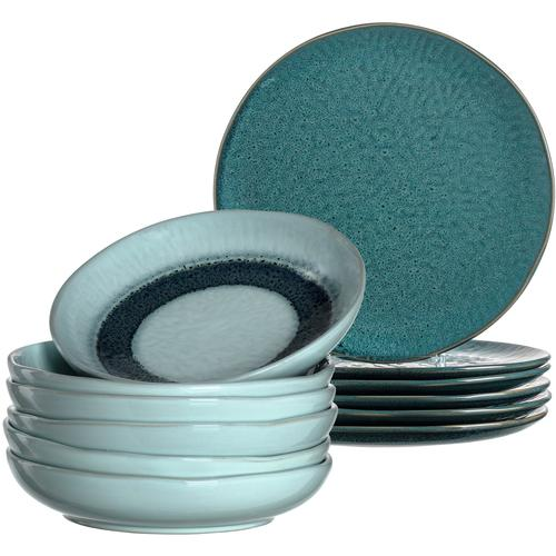 LEONARDO Tafelservice Matera, (Set, 12 tlg.), rustikaler Look blau Geschirr-Sets Geschirr, Porzellan Tischaccessoires Haushaltswaren