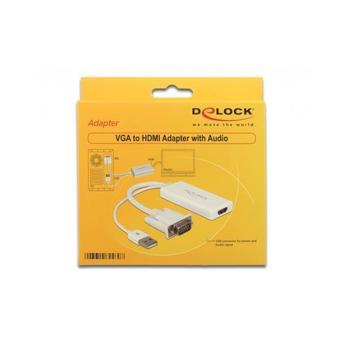 Delock Video- / Audio-Adapter HDMI / VGA / USB Typ A 4-polig DB-15 M