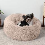 FurHaven Calming Cuddler Long Fur Donut Bolster Dog Bed, Taupe, Small