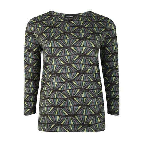 Pullover mit geometrischem Muster Doris Streich petrol
