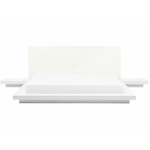 Beliani - Wasserbett Weiß 180 x 200 cm Weiß Kunstleder Mit Lattenrost Holzfurnierte MDF Platte
