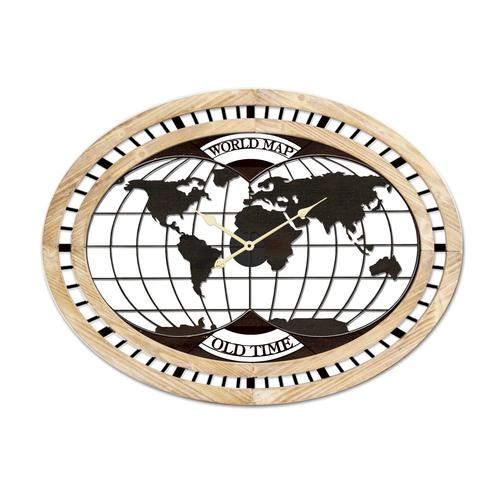 La Casa »Weltkarte« Wanduhr oval Metall/MDF