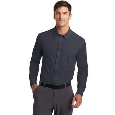 Port Authority K570 Men's Dimension Knit Dress Shirt in Battleship Grey size 3XL | Polyester