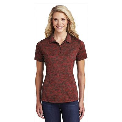 Sport-Tek LST590 Women's PosiCharge Electric Heather Polo Shirt in Deep Red/Black size 2XL   Polyester