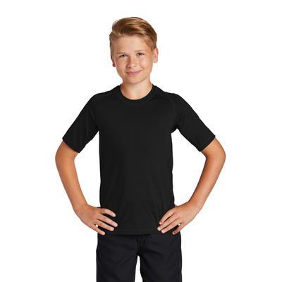 Sport-Tek YST470 Athletic Youth Rashguard Top in Black size Medium | Polyester/Spandex Blend