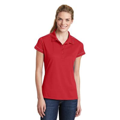 Sport-Tek LST659 Women's Contrast Stitch Micropique Sport-Wick Polo Shirt in True Red size Small | Polyester