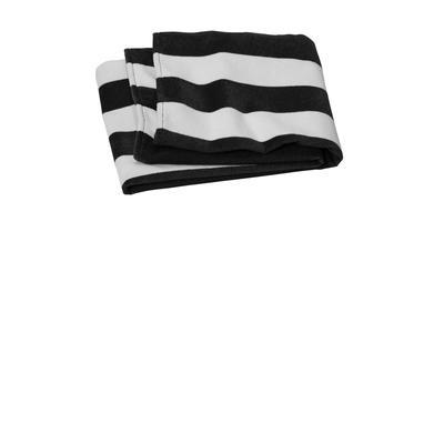 Port Authority PT45 Value Cabana Stripe Beach Towel in Black size OSFA   Cotton