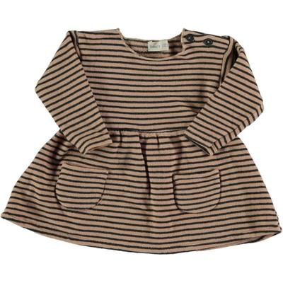 Bean's Barcelona - ANT Striped Nude And Anthracite Gray Dress In Warm Organic Cotton - 12-18 mesi
