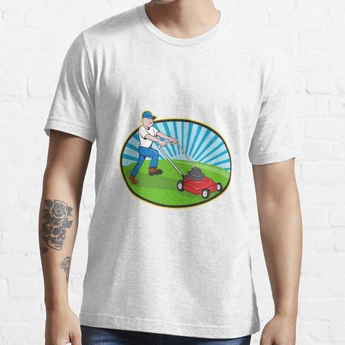 Rasenmäher Mann Gärtner Cartoon Essential T-Shirt