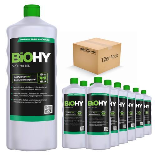 BiOHY Spülmittel (12x1l Flasche)   Frei von schädlichen Chemikalien & biologisch abbaubar   Glanz- & Fettlöseformel