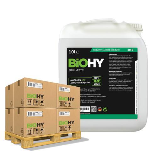 BiOHY Spülmittel (50x10l Kanister) | Frei von schädlichen Chemikalien & biologisch abbaubar | Glanz- & Fettlöseformel