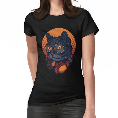 Black Cat Music DJ Headset mit Brille Frauen T-Shirt