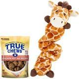 Frisco Bungee Plush Squeaking Giraffe Dog Toy & True Chews Premium Chicken Pot Pie Recipe Dog Treats