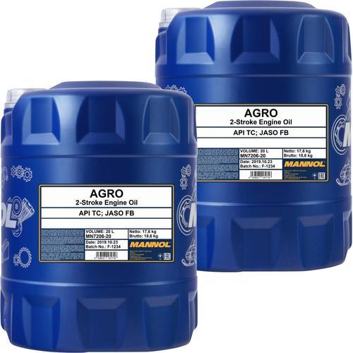 2x 20l Mannol Motoröl Agro Mineralisch 2-takt-motor Husqvarna