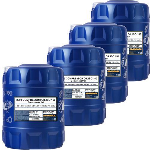 4x 20l Mannol Kompressor Öl Iso 150 Din 51506 (vbl) Iso L-daa Iso L-dab L-dag