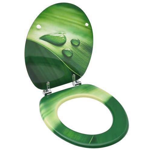 vidaXL Toilettensitz mit Deckel MDF Grün Wassertropfen-Design