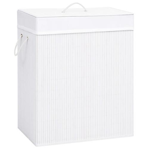 vidaXL Bambus-Wäschekorb Weiß 100 L