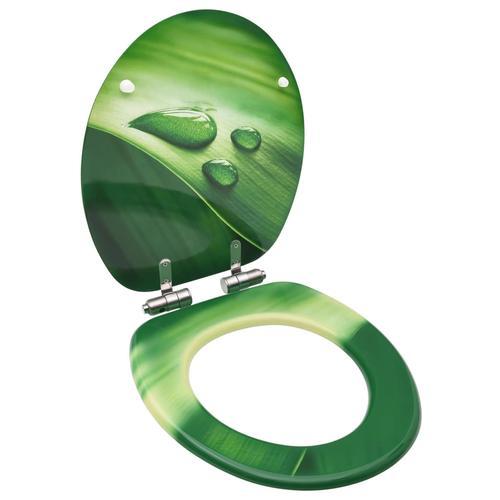 vidaXL Toilettensitz Soft-Close-Deckel MDF Grün Wassertropfen-Design
