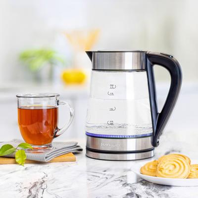 1.7 Liter Analog Rapid Boil Electric Kettle by BrylaneHome in Stainless Steel