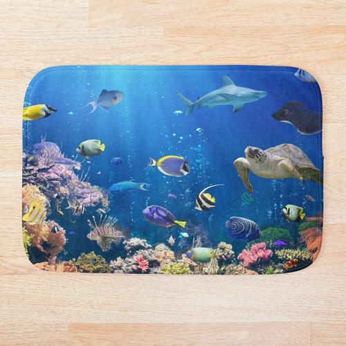 Aquarium - Fischkorallenschildkrötenhai Badematte