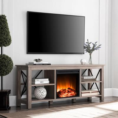 Sawyer Gray Oak TV Stand with Log Fireplace Insert - Hudson & Canal TV0690