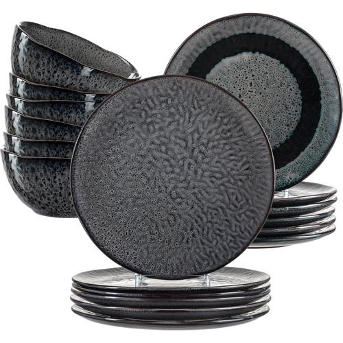 LEONARDO Geschirr-Set Matera, (Set, 18 tlg.), rustikaler Look grau Geschirr-Sets Geschirr, Porzellan Tischaccessoires Haushaltswaren