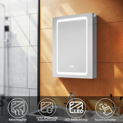 Aluminium Spiegelschrank LED mit Beleuchtung mit Touch Steckdose Beschlagfrei Badschrank Badspiegel