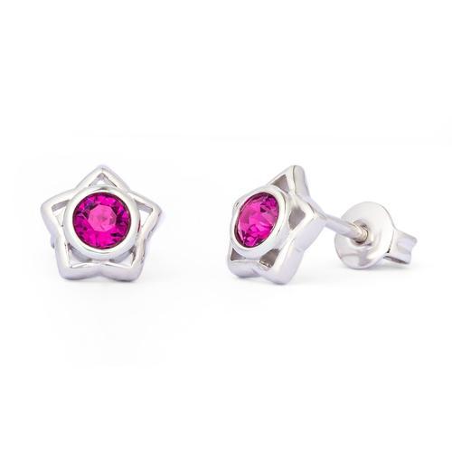 Pippa & Jean Paar Ohrstecker Set: PJ044, (2 tlg.), verziert mit Kristallen von Swarovski rosa Damen Ohrringe Schmuck